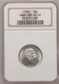 Coins of Hawaii: , 1883 25C Hawaii Quarter MS62 NGC. NGC Census: (110/571). PCGSPopulation (164/851). Mintage: 500,000. (#10987)...