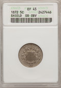 Shield Nickels, 1872 5C Double Die Obverse XF45 ANACS. NGC Census: (2/188). PCGSPopulation (9/280). Mintage: 6,036,000. Numismedia Wsl. Pr...