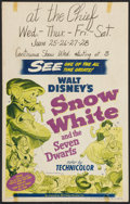 "Movie Posters:Animation, Snow White and the Seven Dwarfs (RKO, R-1951). Window Card (14"" X22""). Animation.. ..."