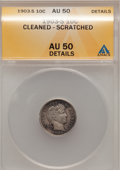 Barber Dimes: , 1903-S 10C --Cleaned, Scratched--ANACS. AU50 Details. NGC Census: (5/35). PCGS Population (5/78). Mintage: 613,300. Numismed...