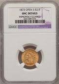Liberty Quarter Eagles, 1873 $2 1/2 Open 3--Improperly Cleaned--NGC Details. Unc. PCGSPopulation (21/300). NGC Census: (32/446). Mintage: 122,800....