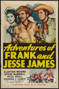 "Movie Posters:Serial, Adventures of Frank and Jesse James (Republic, R-1956). One Sheet (27"" X 41""). Western Serial.. ..."