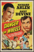"Movie Posters:Action, Danger on Wheels (Universal, 1940). One Sheet (27"" X 41""). Action....."