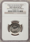 Errors, 2004-P 5C Keel Boat Jefferson Nickel--Multi-Struck Broadstruck--MS66 NGC. Ex: New England Collection.. From The New Engla...