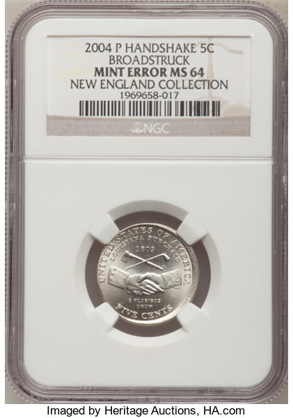 2004-P 5C Peace Medal Jefferson Nickel--Broadstruck--MS64 NGC  Ex