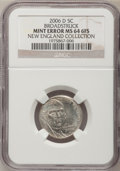 2006-D 5C Jefferson Nickel--Broadstruck--MS64 Six Full Steps NGC. Ex: New England Collection. From The New England Colle...