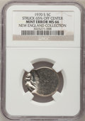 1970-S 5C Jefferson Nickel--Struck 65% Off Center--MS66 NGC. Ex: New England Collection. From The New England Collection...