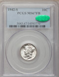 Mercury Dimes, 1942-S 10C MS67 Full Bands PCGS. CAC....