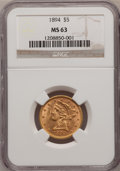 Liberty Half Eagles: , 1894 $5 MS63 NGC. NGC Census: (560/107). Mintage: 957,800.Numismedia Wsl. Price for problem free NG...