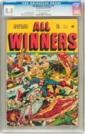 Golden Age (1938-1955):Superhero, All Winners Comics #13 (Timely, 1944) CGC VF+ 8.5 Off-white to white pages....
