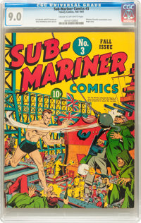 Sub-Mariner Comics #3 (Timely, 1941) CGC VF/NM 9.0 Cream to off-white pages