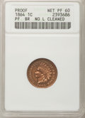 Proof Indian Cents: , 1864 1C Bronze No L Brown--Cleaned--ANACS. Net Proof 60. NGCCensus: (0/32). PCGS Population (0/22). Mintage: 150. Numismed...