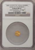 "California Gold Charms, 1885 Dated Cal Gold Charm, ""Arms of California"" Token MS61 NGC. (Octagonal, 0.13g)..."