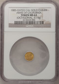 """California Gold Charms, 1885 Dated Cal Gold Charm, """"Arms of California"""" Token MS63 NGC. (Octagonal, 0.15g)..."""