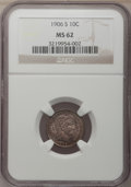 Barber Dimes: , 1906-S 10C MS62 NGC. NGC Census: (14/61). PCGS Population (7/78).Mintage: 3,136,640. Numismedia Wsl. Price for problem fre...