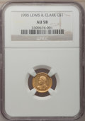 Commemorative Gold: , 1905 G$1 Lewis and Clark AU58 NGC. NGC Census: (58/1035). PCGSPopulation (115/1828). Mintage: 10,000. Numismedia Wsl. Pric...