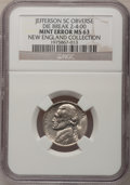 Undated Jefferson Nickel--Obverse Die Break 2 to 4 O'Clock--MS63 NGC, ex: New England Collection; and an Undated Jeffers...