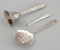 Silver Flatware, American:Kirk, AN AMERICAN SILVER BON BON SPOON, FOOD PUSHER AND DINNER BELL.Samuel Kirk & Son, Baltimore, Maryland, circa 1896. Marks:... (Total: 3 Items Items)