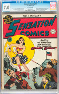 Golden Age (1938-1955):Superhero, Sensation Comics #1 (DC, 1942) CGC FN/VF 7.0 Off-white pages....