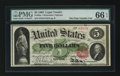 Large Size:Legal Tender Notes, Fr. 63a $5 1863 Legal Tender PMG Gem Uncirculated 66 EPQ.. ...
