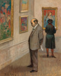 Fine Art - Painting, American:Modern  (1900 1949)  , TULLY FILMUS (1908-1998). The Critic . Oil on canvas . 20 x16 inches (50.8 x 40.6 cm). Signed lower left: TullyFilmu...