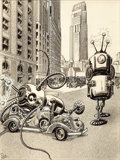 Paintings, FRANK R. PAUL (American, 1884-1963). The Robot Aliens, Wonder Stories illustration, February 1935. Mixed media on board... (Total: 2 Items)