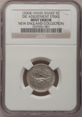 2004-P 5C Peace Medal Jefferson Nickel--Die Adjustment Strike--NGC. Ex: New England Collection. From The New England Col...