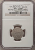 Errors, Undated 5C Jefferson Nickel--Type Two Blank--NGC. 5.0 gm. Ex: New England Collection.. From The New England Collection of...