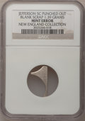 Errors, Undated 5C Jefferson Nickel--Punched Out Blank Scrap--NGC. 1.39 gm. Ex: New England Collection.. From The New England Col...