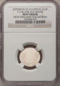 Errors, Undated 5C Jefferson Nickel--Elliptical Clipped Type Two Blank--NGC. 4.6 gm. Ex: New England Collection.. From The New En...