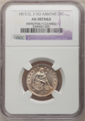 Seated Quarters, 1873 25C Closed 3, No Arrows--Improperly Cleaned--NGC Details.AU....