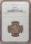 Seated Quarters, 1861-S 25C VF25 NGC....
