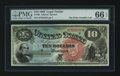Large Size:Legal Tender Notes, Fr. 96 $10 1869 Legal Tender PMG Gem Uncirculated 66 EPQ.. ...