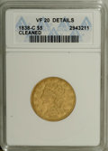 Classic Half Eagles: , 1838-C $5 --Cleaned--ANACS. VF20 Details. Breen-6516, Repunched 5,Variety 1-B, R.5. A rare die marriage whose life may have...