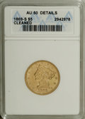 Liberty Half Eagles: , 1869-S $5 --Cleaned--ANACS. AU50 Details. Luster outlinesindividual stars and connects the reverse legends. The eagle'snec...