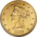 """Liberty Eagles: , 1857 $10 AU58 NGC. Breen-6925, """"Extremely rare."""" A raised die lineconnects the 5 and 7 in the date. Listed in Coin Worl..."""