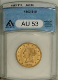 Liberty Eagles: , 1862 $10 AU53 ANACS. Flashes of luster surround protected areas ofthis briefly circulated Civil War ten. While the 1861 is...