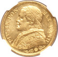 Italy, Italy: Papal States. Pius IX gold 20 Lire 1867R Anno XXII,...
