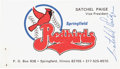 Baseball Collectibles:Others, Satchel Paige Signed Business Card....