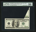 Error Notes:Foldovers, Fr. 2177-B $100 2001 Federal Reserve Note. PMG Choice About Unc 58EPQ.. ...