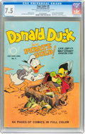 Golden Age (1938-1955):Cartoon Character, Four Color #9 Donald Duck Finds Pirate Gold (Dell, 1942) CGC VF- 7.5 Off-white to white pages....