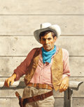 Pulp, Pulp-like, Digests, and Paperback Art, STANLEY BORACK (American, b. 1927). The Gunslinger, paperbackcover. Oil on board. 18 x 14 in.. Signed lower right. ...
