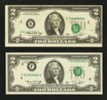 Error Notes:Error Group Lots, Two Bicentennial $2s With Misaligned Third Printings. ExtraFine-Almost Uncirculated.. ... (Total: 2 notes)