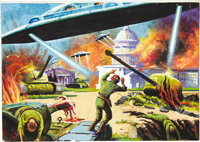 "Norman Saunders Mars Attacks Card #5 ""Washington in Flames"" Original Art (Bubble Inc./Topps, 1962)"