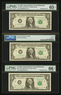 Error Notes:Blank Reverse (100%), Fr. 1914-E $1 1988 Federal Reserve Notes. Three ConsecutiveExamples. PMG Gem Uncirculated 65 EPQ & 66 EPQ and Choice AboutUn... (Total: 3 notes)