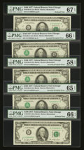 Error Notes:Inverted Third Printings, Fr. 2168-G $100 1977 Federal Reserve Notes. Five Consecutive Notes.PMG Gem Uncirculated 65 EPQ & 66 EPQ (2), Superb Gem Unc 6...(Total: 5 notes)