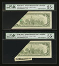 Error Notes:Foldovers, Fr. 2170-D $100 1981A Federal Reserve Notes. Two Consecutive Notes.PMG About Uncirculated 55 EPQ.. ... (Total: 2 notes)