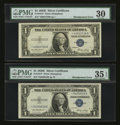 Error Notes:Skewed Reverse Printing, Fr. 1614* $1 1935E Silver Certificates. Two Examples. PMG ChoiceVery Fine 35 EPQ and Very Fine 30.. ... (Total: 2 notes)