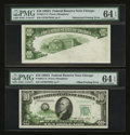 Error Notes:Obstruction Errors, Fr. 2011-G $10 1950A Federal Reserve Notes. Two Consecutive Notes.PMG Choice Uncirculated 64 EPQ.. ... (Total: 2 notes)