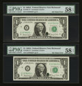Error Notes:Ink Smears, Fr. 1901-E* $1 1963A Federal Reserve Notes. Two ConsecutiveExamples. PMG Choice About Unc 58 EPQ.. ... (Total: 2 notes)